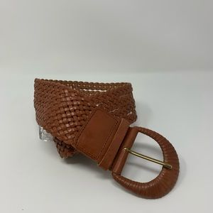 Accessories - Cognac Wide Braided Belt S